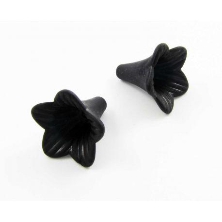 """Akrliniai karoliukai """"Gėlytė"""" juodos spalvos 22x21 mm"""