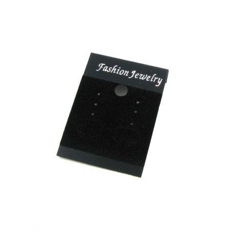 Kortelė auskarams, juodos spalvos, plastikinė, padengta zomšu,52x37 mm