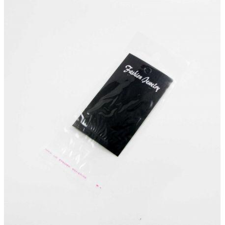 Kortelė auskarams, juodos spalvos su skaidriu maišeliu 90x50 mm