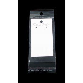 Открытка для сережек белого цвета с прозрачным пакетом 88х50 мм.