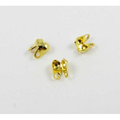 Užbaigimas burbulinei grandinėlei aukso spalvos 4x3,5 mm 10 vnt.