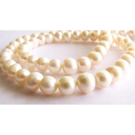 Gėlavandeniai perlai baltos spalvos kultivuoti netaisyklingos apvalios formos 5-6mm