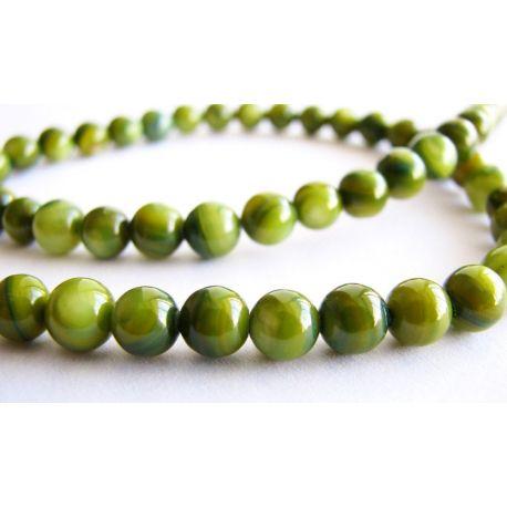 Pērļu masas krelles zaļgani apaļas formas 5mm