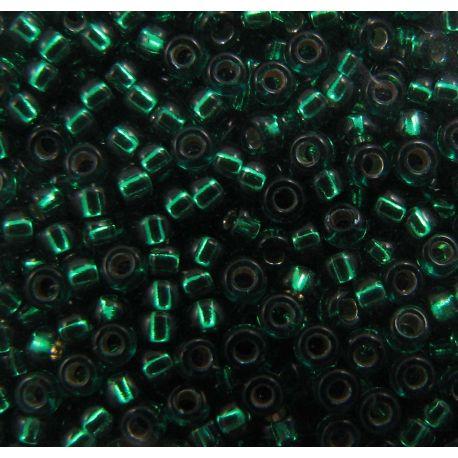 MIYUKI Seed Beads (1422) green, middle silver plat 15/0 5 g