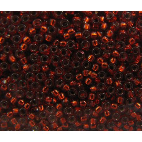 MIYUKI Seed Beads (1434) red, middle silver plated 15/0 5 g