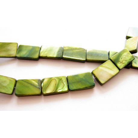 Perlų masės karoliukai žalios spalvos blizgūs stačiakampio formos 15x10mm