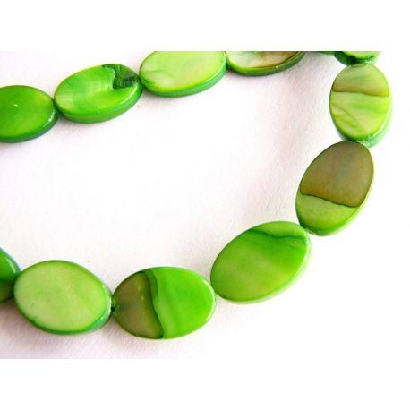 Perlų masės karoliukai žalios spalvos ovalo formos 8x12mm