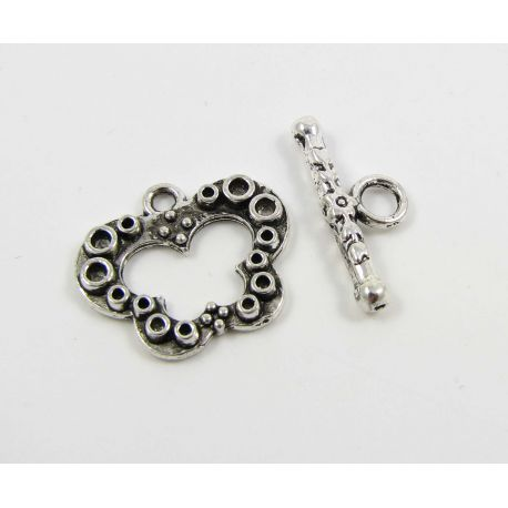 Necklace clasp, aged silver, 19x16 mm