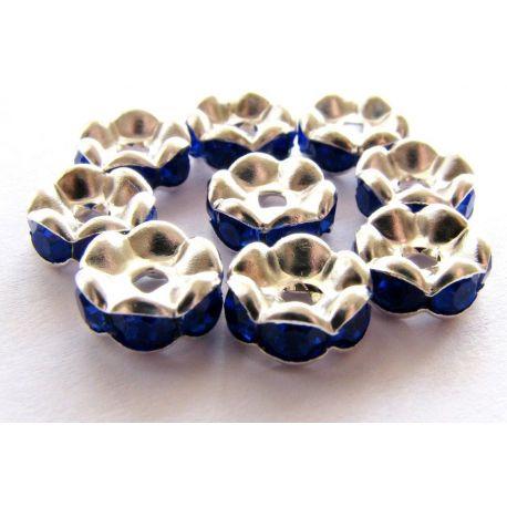 Intarpas sidarbo spalvos inkrustuotas mėlynos spalvos akutėmis 8mm