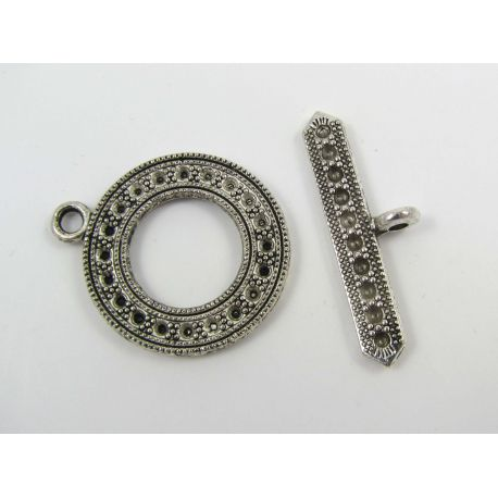 Necklace clasp, aged silver, 29x24 mm