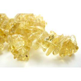 Natūralūs citrino akmeniniai karoliukai, skalda 4,5-10 mm. geltonos spalvos, 90cm ilgio
