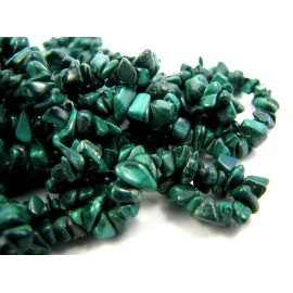 Natural malachite chipping beads - rubble 3-6 mm. 90 cm long