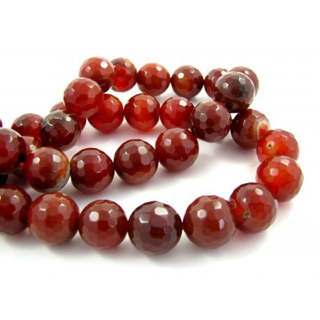 Agate beads, orange, ribbed 14 mm
