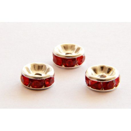 Insert silver encrusted with red apertures 8mm