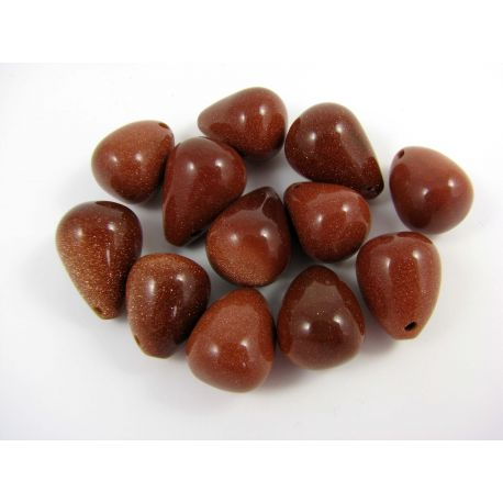 Sun stone beads brown glossy drop shape 12x18
