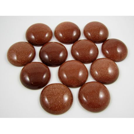Sun stone cabochon, brown 30 mm