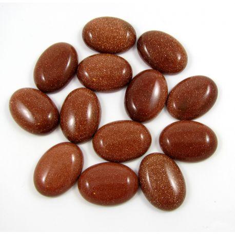 Saulės akmens kabošonas, rudos spalvos 25x18 mm