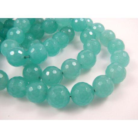 Jade beads greenish-blue, round shape 12 mm
