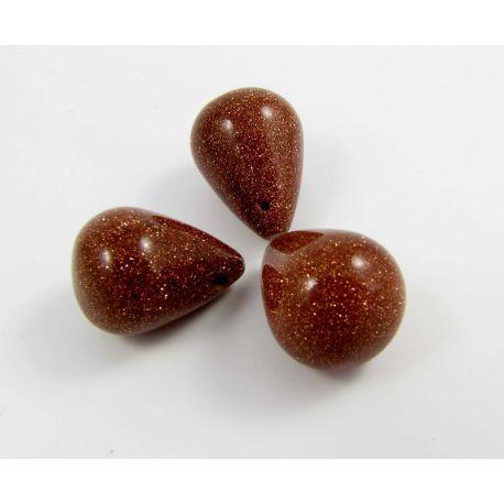 Sun stone beads brown drop shape 12x18 mm