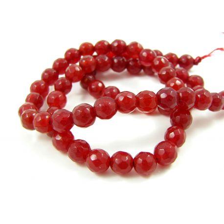 Jade bead thread, red ribbed 6 mm