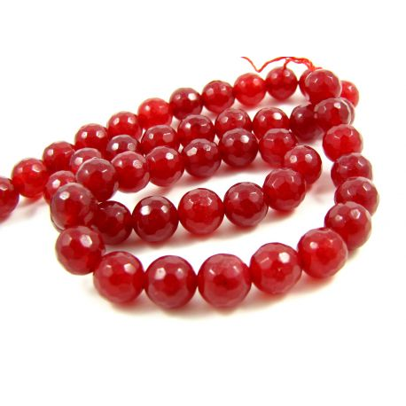 Jade bead thread, red ribbed 8 mm