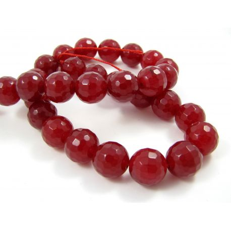 Jade bead thread, red ribbed 12 mm