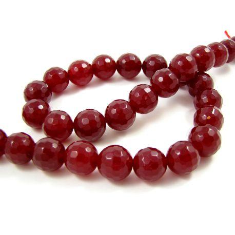 Nefrito karoliukų gija, tamsios raudonos spalvos briaunuoti 12 mm