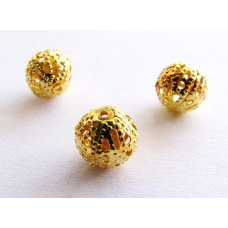 Intarpas skirtas papuošalų gamybai aukso spalvos apvalios formos 8mm