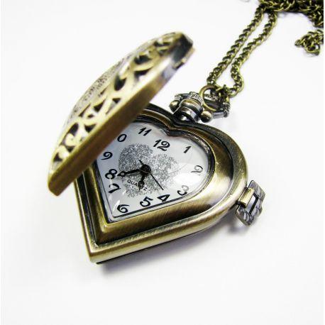 """Kišeninis laikrodis """"Širdelė"""", sendintos bronzinės spalvos su grandinėle 40x40 mm"""