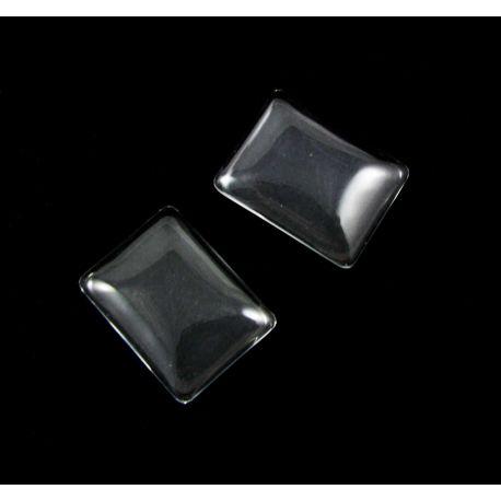 Glass cabochon transparent rectangular 25x19 mm