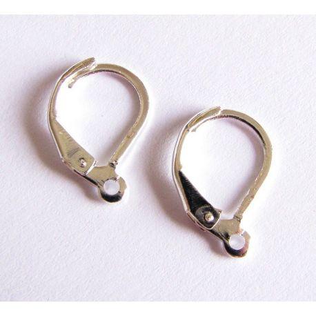 Kabliukai skirti auskarų gamybai sidabro spalvos angliškas užsegimas 16x9mm