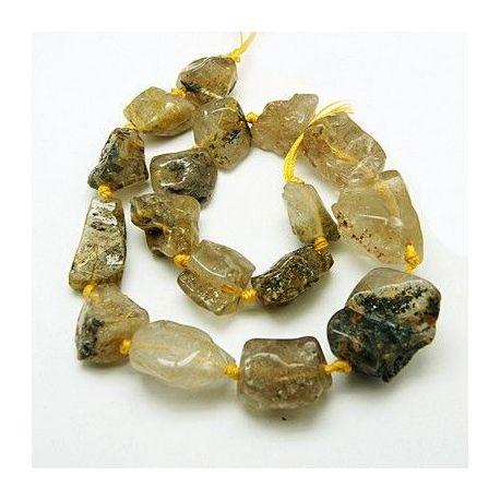 Natural quartz nuggets thread, white-brown