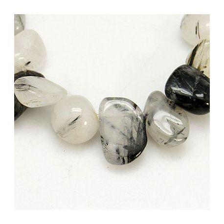 Rutile quartz bead thread, white, drop shape 4-16x6-20x1-12 mm