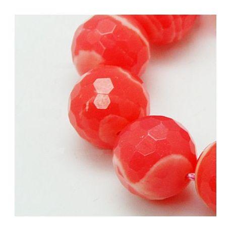 Rodochrozito karoliukai,raudonai rožinės spalvos su juostelėmis