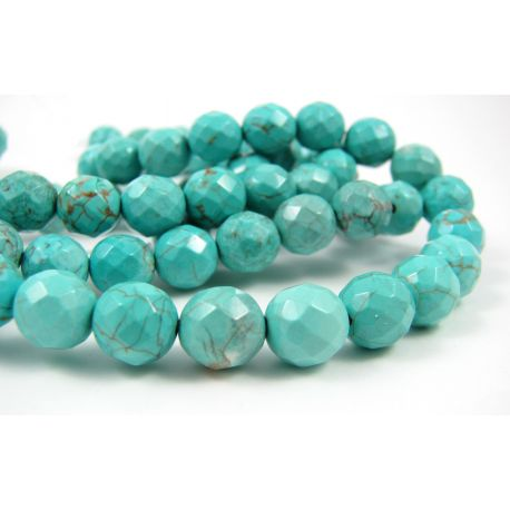 Turquoise beads, green, round shaped, ribbed 8 mm