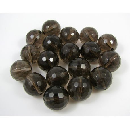 Smoky quartz beads, brown, transparent, round shape 14 mm