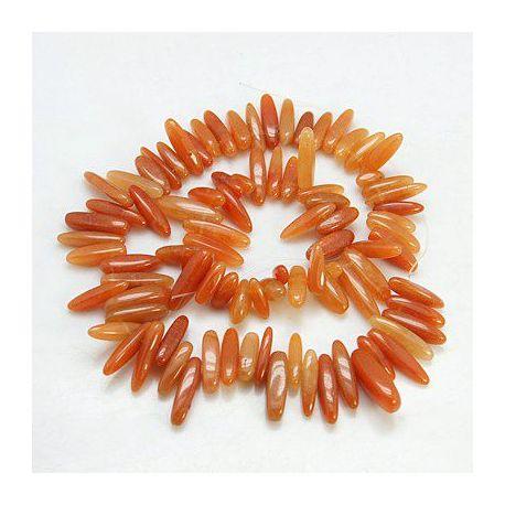 Raudonojo avantiurino karoliukų gija, oranžinės spalvos, ilgis 40 cm