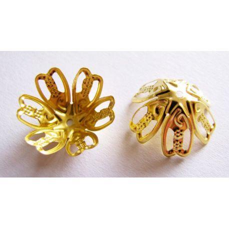 Kepurėlė skirta papuošalų gamybai aukso spalvos, 16,5x8 mm