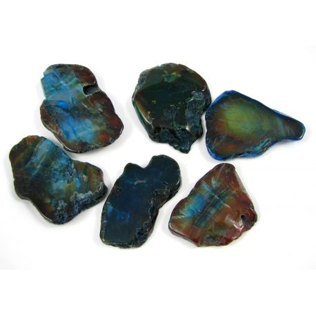 Agato karoliukai-pakabukai, mėlynai žalios spalvos, netaisyklingos formos, 66x28 mm