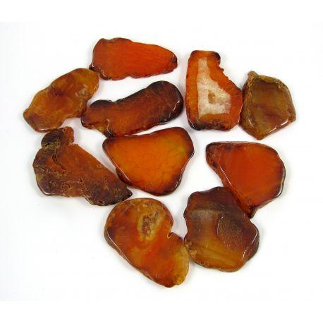 Agate bead-pendants, orange, irregular shape, 66x28 mm