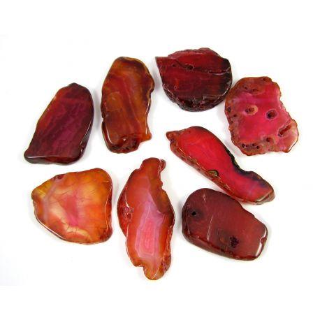 Agate bead-pendants, dark pink, irregular shape, 66x28 mm