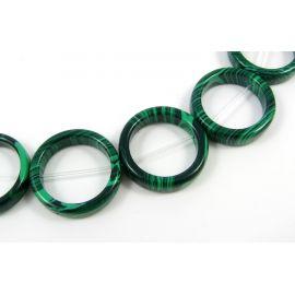 Sintetinio malachito karoliukai žalios spalvos žiedo formos, 20 mm