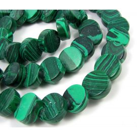 Synthetic malachite beads in the form of a green coin, 13 mm