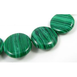 Synthetic malachite beads in the form of a green coin, 17 mm