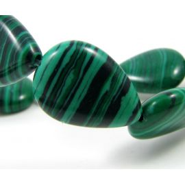 Synthetic malachite beads 17x12 mm