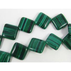 Sintetinio malachito karoliukai žalios spalvos rombo formos, 18 mm