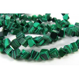 Synthetic malachite beads in the form of a green cube, 4-6 mm