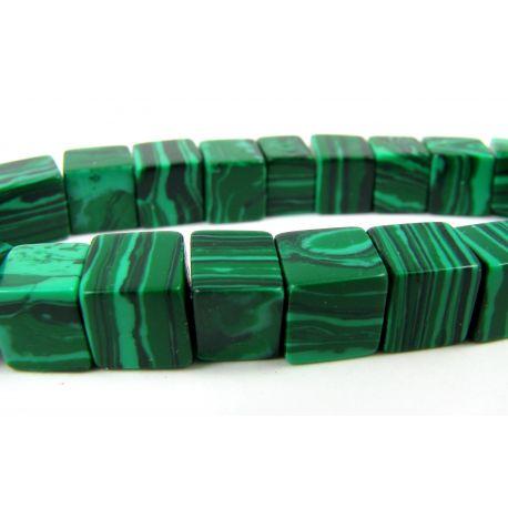 Sintetinio malachito karoliukai žalios spalvos kvadrato formos, 8 mm
