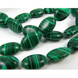 Synthetic malachite beads green oval, 12x8 mm