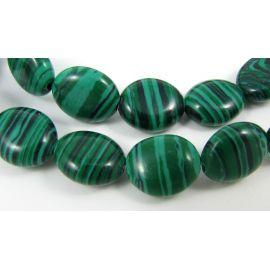 Sintetinio malachito karoliukai žalios spalvos ovalo formos, 12x10 mm